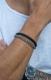 Комбинированный браслет из кожи и стали, 21.5 см.